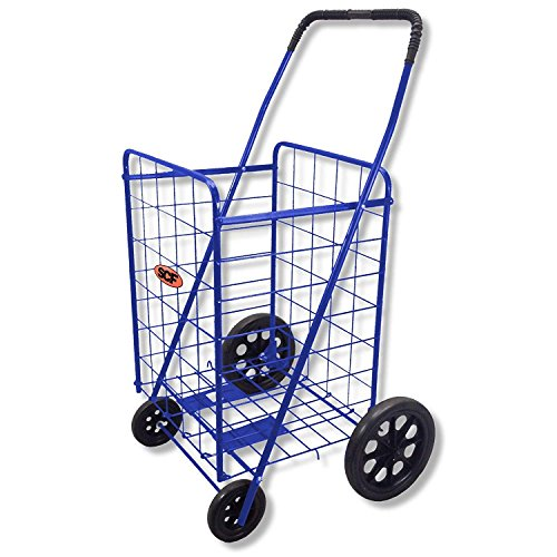(Extra Large Heavy Duty Folding All Purpose Utility Shopping Grocery Luggage Storage Cart Jumbo Size with Swivel Wheels-Capacity up to 150 lb, Blue (Blue Cart Only))