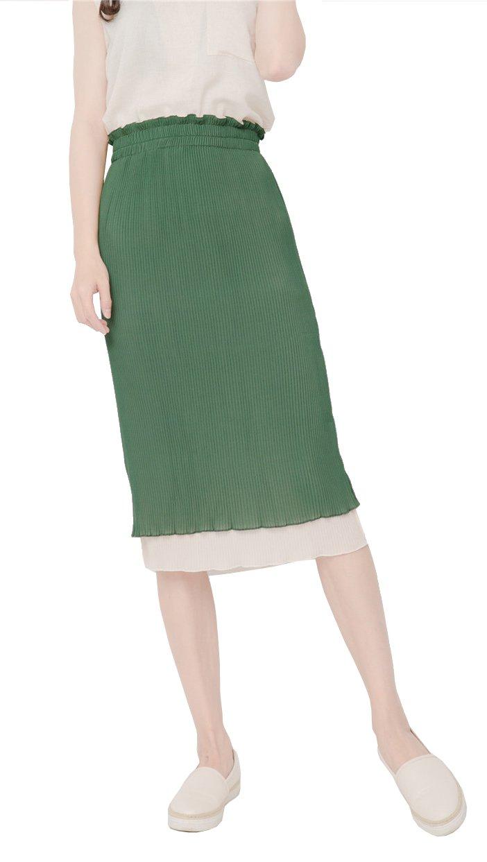 Gihuo Women's Reversible Elegant Bodycon Fine Pleats Elastic Waist Long Summer Beach Skirt (Green, Free)
