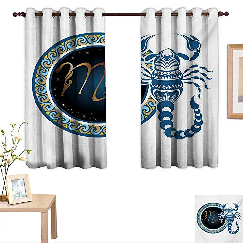 Zodiac Scorpio Customized Curtains Circle Shapes with Waves Pattern and an Ornamental Scorpion 55
