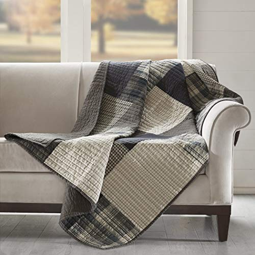 - D&A 1 Piece Tan Brown Grey Houndstooth Throw Lightweight, Plaid Printed Quilted Cabin Blanket Lodge Themed Patch Squares Cream Checked Lumberjack Gray, Reverses Solid Color Cotton