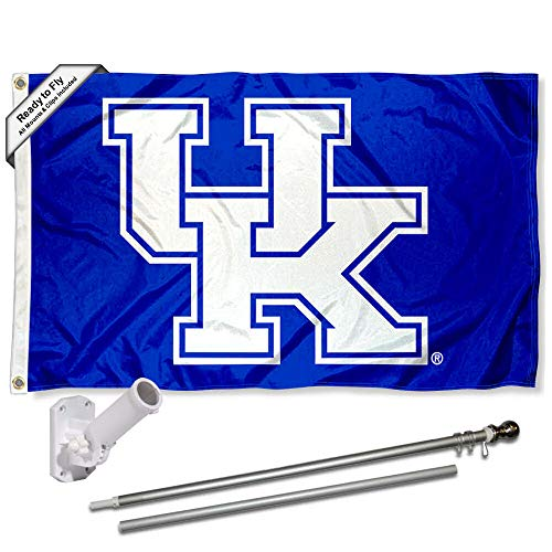 Kentucky Wildcats New UK Logo Flag with Pole and Bracket Kit ()
