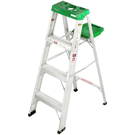 Liberti LB-1204 Aluminium Step Ladder with Utility Tray (Silver) Stepladders at amazon