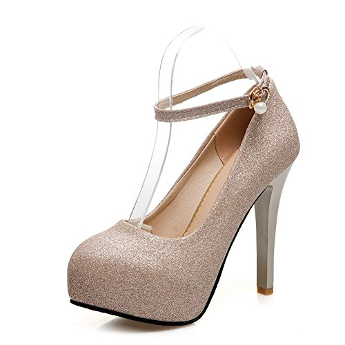 Odomolor Women's Round-Toe High-Heels Blend Materials Solid Buckle Pumps-Shoes, Gold, 35