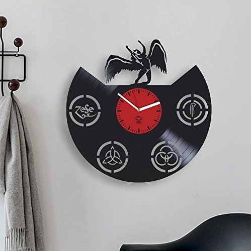 Kovides Led Zeppelin Rock Band, Music Fans Modern Art, Vinyl Record Best Gift for Dad Mom Girlfriend Boy Girl Vinyl Wall Clock Home Decoration Living Room Inspirational, Vinyl Wall Clock Silent