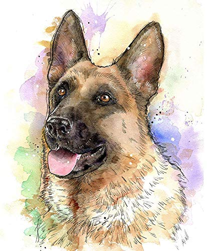 German Shepherd Watercolor Art Print of Original Painting, Pet Themed Party Nursery Home Wall Decor, Gift for Dog Mom, Dad, Parent; Rainbow Bridge Pet Loss Sympathy Housewarming Memorial Gift