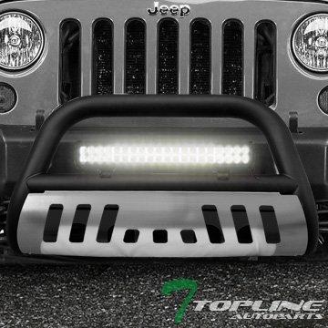 Topline Autopart Matte Black Bull Bar Brush Push Bumper Grill Grille Guard With Aluminum Skid Plate + 120W Cree LED Fog Light For 10-17 Jeep Wrangler JK