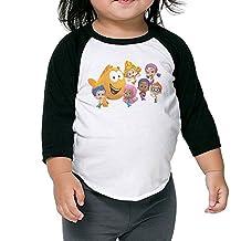 Kid's Bubble Guppies Cartoon Toddler Child 3/4 Sleeves Raglan T-Shirt 100% Cotton