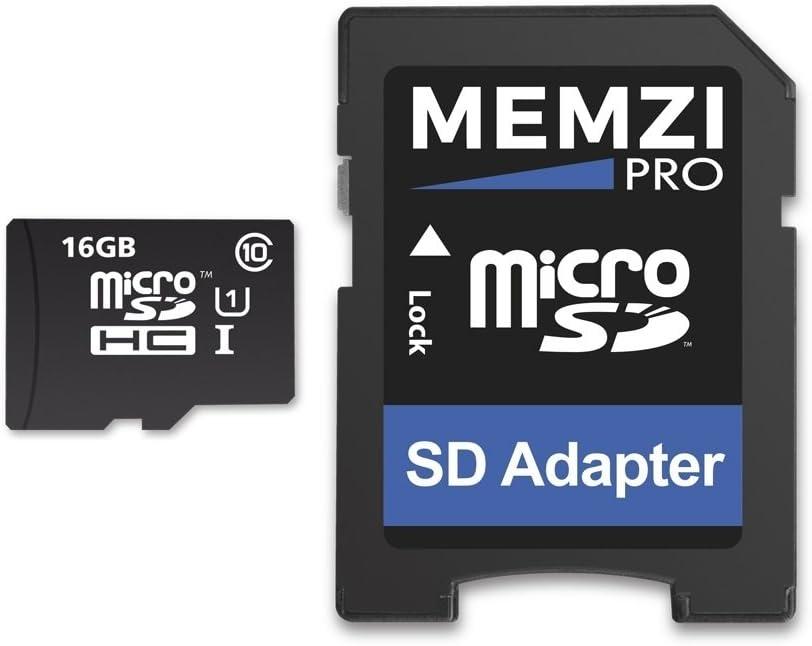 Memzi Pro 16GB Clase 1090Mb/s tarjeta de memoria Micro SDHC con adaptador SD para TomTom Start, Trucker o Rider Sat Nav de