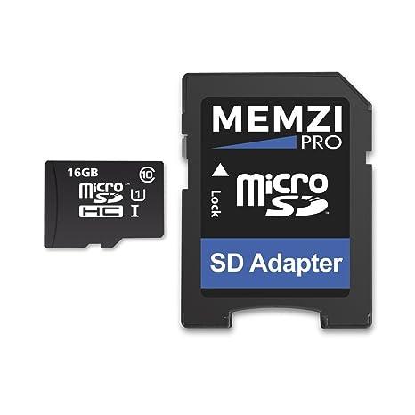 Memzi Pro 16 GB Clase 10 90 Mb/s tarjeta de memoria Micro SDHC con adaptador SD para Huawei P oy teléfonos móviles de la serie
