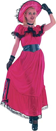 GIRLS SCARLET O/'HARA WESTERN VICTORIAN FANCY DRESS COSTUME