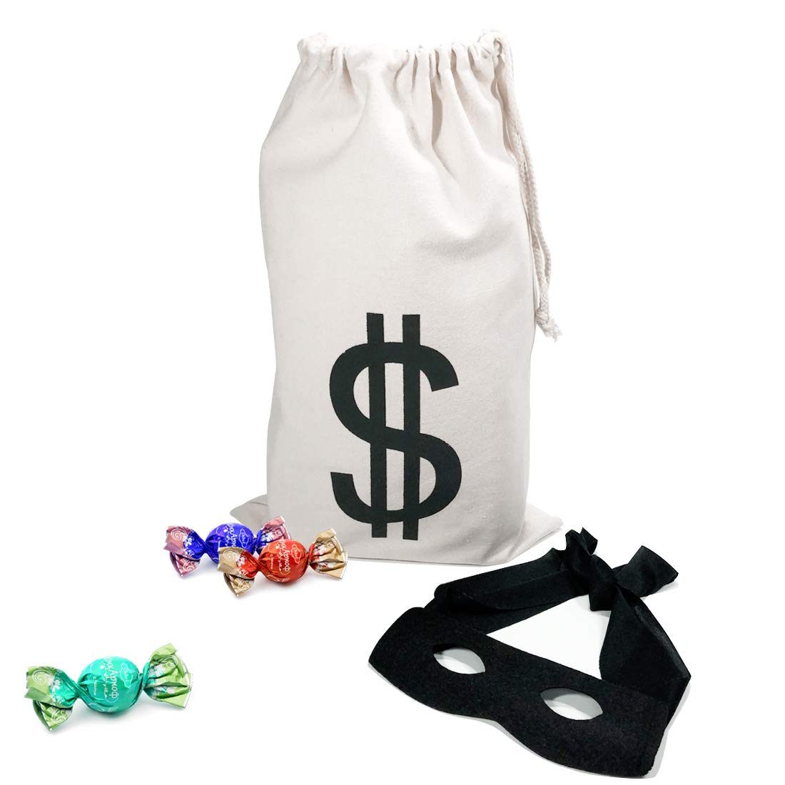 PAUBOLI Robber Costume Black Eye Mask+ Canvas Drawstring Bag Dollar Sign Canvas Bag Halloween (11 x 17 inches) yw0029-11x17