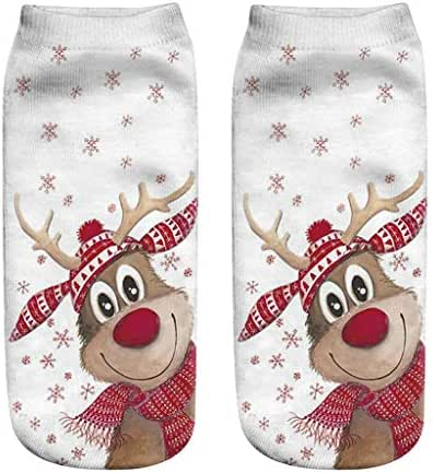 TOTOD Christmas Socks Lowcut Socks Xmas Funny Socks Casual Low Cut Ankle Sock with 3D Cute Pattern for Women Girls Gift