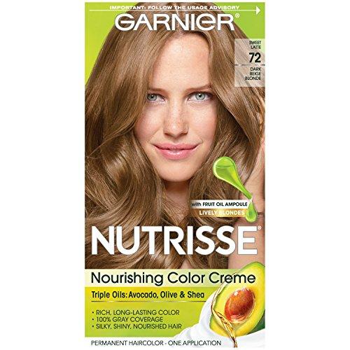 Garnier Nutrisse Nourishing Hair Color Creme, 72 Dark Beige Blonde (Sweet Latte)  (Packaging May Vary) (Best Drugstore Permanent Hair Dye)