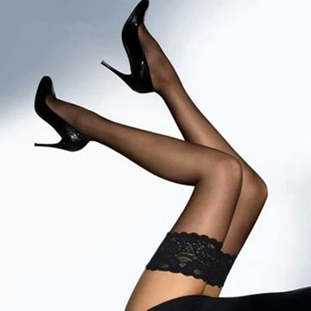 Thigh-High Stockings non-slip Silicone Sheer Lace Top Thigh High Over the Summer Style Sexy Knee Long Stockings (3-Pairs-Black) by RIER (Image #4)