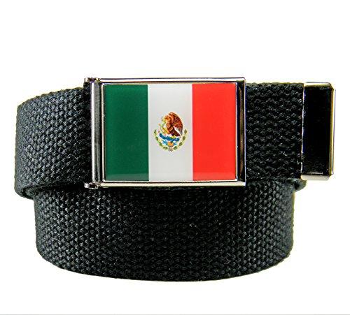 Build A Belt® Mexican Flag Flip Top Men's Belt Buckle with Canvas Web Belt Medium Black -