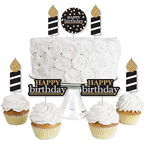 Adult Happy Birthday - Gold - Dessert Cupcake Toppers - Birthday Party Clear Treat Picks - Set of 24 ()