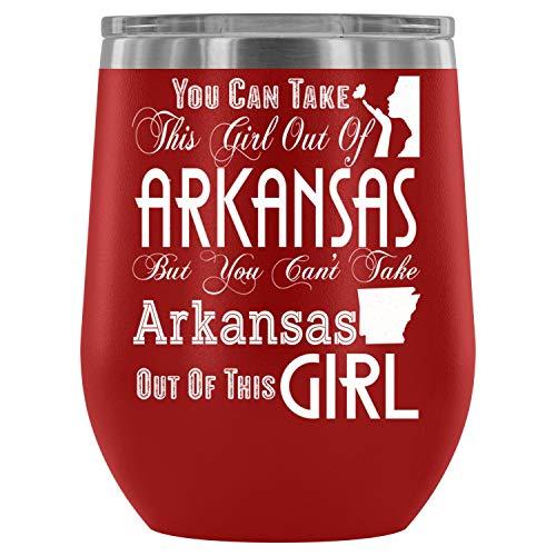 Cute Steel Stemless Wine Glass Tumbler, 12 oz, Arkansas Girl Wine Tumbler Cup, Tumbler Cup with Lid for Wine, Coffee, Drinks (12oz - RED)