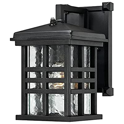 Westinghouse Lighting 6204500 Caliste 1 Light Outdoor Wall Lantern with Dusk to Dawn Sensor, Textured Black - One-light outdoor transitional wall lantern with dusk to dawn sensor, automatically turns on at dusk and off at dawn Textured Black finish on aluminum with clear water glass adds transitional Style to any outdoor setting 10 by 6 inches (H x w); extends 7-3/4 inches; 4 inches height from center of outlet box; back Plate is 8 by 5 inches (H x w) - patio, outdoor-lights, outdoor-decor - 51su6tEZV8L. SS400  -