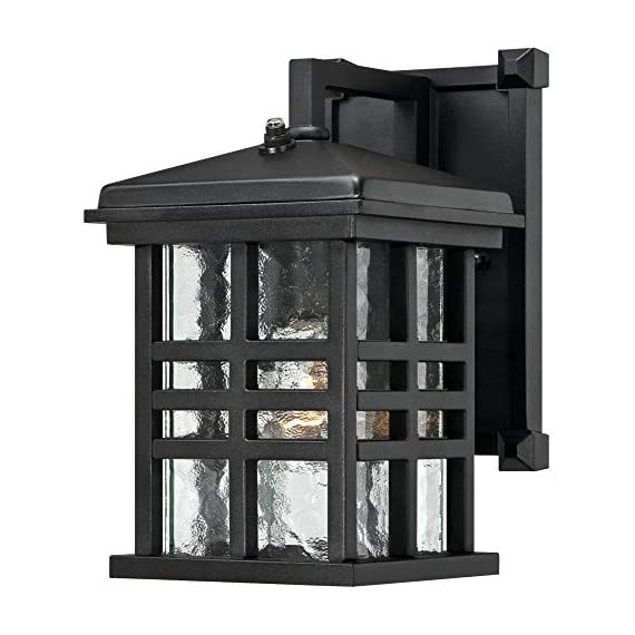 Westinghouse Lighting 6204500 Caliste 1 Light Outdoor Wall Lantern with Dusk to Dawn Sensor, Textured Black - One-light outdoor transitional wall lantern with dusk to dawn sensor, automatically turns on at dusk and off at dawn Textured Black finish on aluminum with clear water glass adds transitional Style to any outdoor setting 10 by 6 inches (H x w); extends 7-3/4 inches; 4 inches height from center of outlet box; back Plate is 8 by 5 inches (H x w) - patio, outdoor-lights, outdoor-decor - 51su6tEZV8L. SS570  -