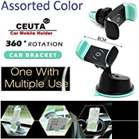 Ceuta Retails™ Dual Purpose 360-Degree Rotating Mobile Car Mount Holder Stand for Windscreen, Dashboard & Table Desk with Double Grip Holder