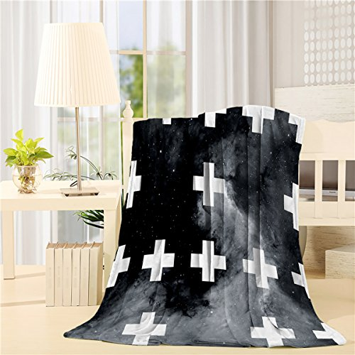 Fleece Blanket Art Illustration Of Rpeat Arrangement Of Cross Graph , Star Night Blankets For Living Room Bedroom Wearing By (Graph Sweater)