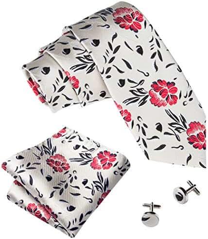 Hi-Tie Men's Floral Silk Tie Hanky Cufflinks Set