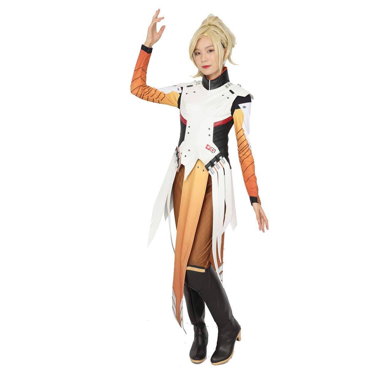 Amazon.com  Women s OW Mercy Cosplay Costume Deluxe Game Anime Battle Suit  Outfits for Women Girls  Clothing 0352682b4