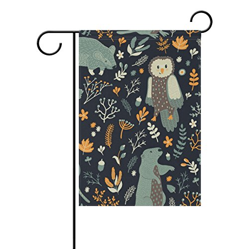 Squirrel Proof Flowers (Vantaso Garden Flag Decorative Green Forest Owl Squirrel Yellow Flowers Leaves Polyester Double Sided Printing Fade Proof for Outdoor Courtyards Garden 28x40 inch)