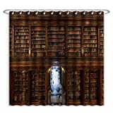 Aireeo Unique Custom Shower Curtains A Wonderful Library Of Old Books Menendez Pelayo In Santander Spain Polyester Fabric Shower Curtain For Bathroom, 60 x 72 Inches