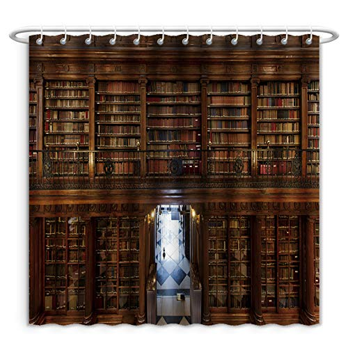 Aireeo Unique Custom Shower Curtains A Wonderful Library Of Old Books Menendez Pelayo In Santander Spain Polyester Fabric Shower Curtain For Bathroom, 60 x 72 Inches by Aireeo