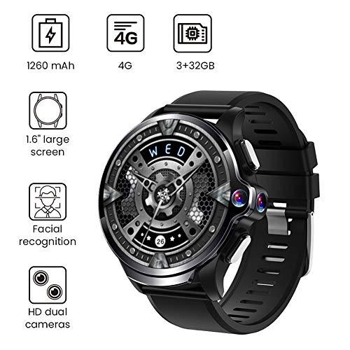 MROSW 1.6″ Dual Cameras 3GB+32GB GPS Smart Watch Phone 1260Mah Battery Facial Recognition 4G Wifi Answer Call SIM TF Card