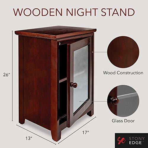 Stony-Edge Espresso Night Stand - Easiest Assembly, No Tools Required - Premium Two Shelf Wooden Bedside Table or End Table with Glass Door - Heavy Duty Elegant Accent Furniture