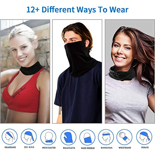 JISONCASE 3pcs Ear Loops Face Bandana for Men Women,UV Protection Breathable Summer Neck Gaiter Face Cover,Cooling Sunscreen Seamless Bandana for Festival Running Cycling