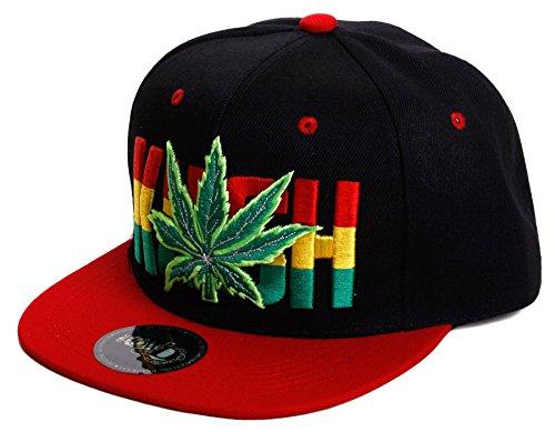 Weed-Marijuana-Leaf-Classic-Snapback-Flat-Visor-Hat-Cap-Includes-Free-Bandana-KUSH-Letters-One-Size-RedBlack