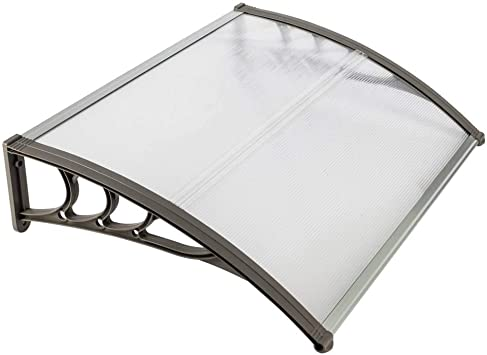 Awning Canopy UV Rain Snow Protection Hollow Sheet Black Derleb 39 x 39 Door Window Awning Canopy Porch,Patio Door Awning Modern Polycarbonate Cover