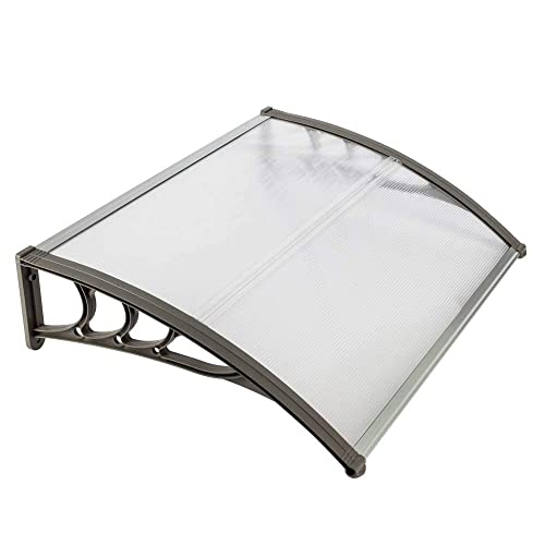 Binlin Window Door Awning,31 x 39 Window Awning Overhead Door Polycarbonate Cover Front Door Outdoor Patio Canopy Sun Shetter,UV,Rain Snow Protection Hollow Sheet
