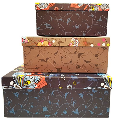Alef Elegant Decorative Themed Nesting Gift Boxes! Beautiful Butterfly Nesting Boxes Beautifully Themed and Decorated - Perfect for Gifts or Simple Decoration Around The House! (Butterfly Pattern)