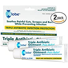 Triple Antibiotic + Pain Relief Dual Action Ointment, 1 Oz (2 - PACK) (Compare to Neosporin)