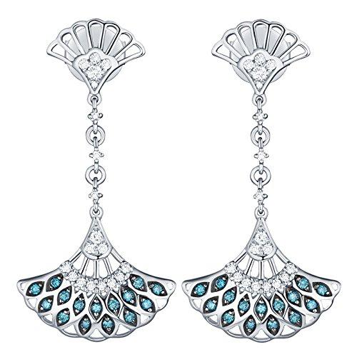 Prism Jewel 0.32Ct Blue/SI1 Diamond & Natural Diamond Hand Fan Style Drop Dangle Earrings, 14k White Gold