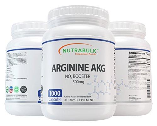 NutraBulk Premium Arginine AKG 500mg Capsules - 1000 Capsules