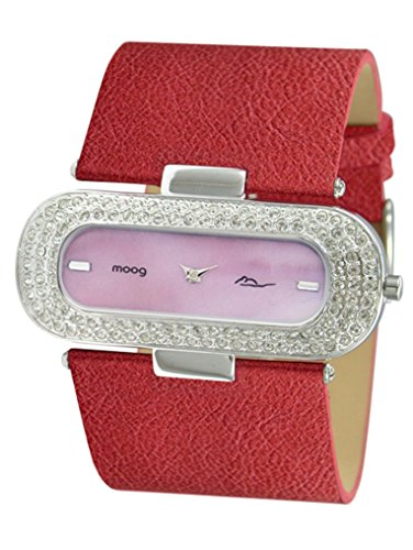 Moog Paris - Glam - Women's Watch with red dial, red strap in Genuine calf leather, made in France - M44088-002