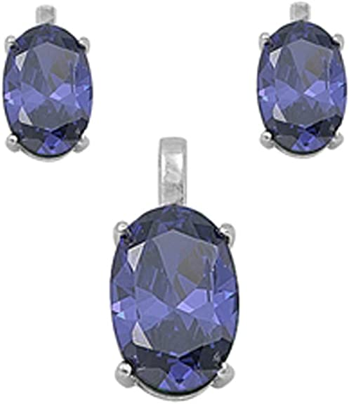 """10k Yellow Gold Solitaire NEW Simulated Tanzanite Pendant Necklace 19/"""""""