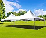 20-Foot by 40-Foot White High Peak Frame Style Party Tent for Weddings, Graduations, and Events