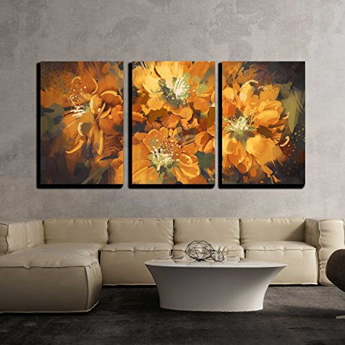 wall26 - 3 Piece Canvas Wall Art - Illustration - Digital Painting of Colorful Abstract Flowers with Grunge Texture - Modern Home Decor Stretched and Framed Ready to Hang - 16