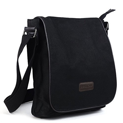 Eshow men canvas Shoulder Bag Cross Bag Messenger Bag Daily Bag Purse For School Cycling Biking Short Traveling Casual Leather Canvas IPAD Black (Friendly Messenger Eco Canvas)