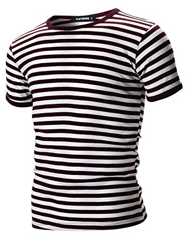 Wide Striped Shirt (FLATSEVEN Mens Casual Wide Striped Crew Neck Short Sleeve Tee Shirt (TR1002) Wine, L)
