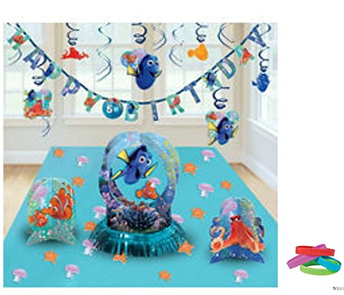 Finding Dory Complete Room Decorations Kit ( Banner, Swirl Deco., and Table Deco Set) Party -