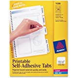 Avery Printable Repositionable Plastic Tabs, 1.25 Inches, White, 96 per Pack (16280)