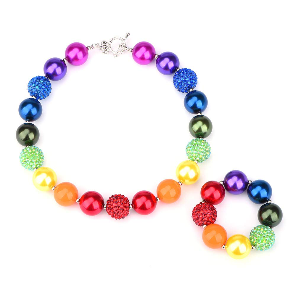 Bling Bling Chunky Bubblegum Necklace Rainbow Fashion Beads and Bracelet Set with Gift Box for Baby Girls by Bling Bling
