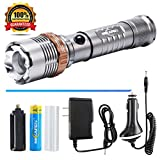 Tactical Flashlight Rechargeable LED Flashlight With AC+Car Charger+18650 Battery